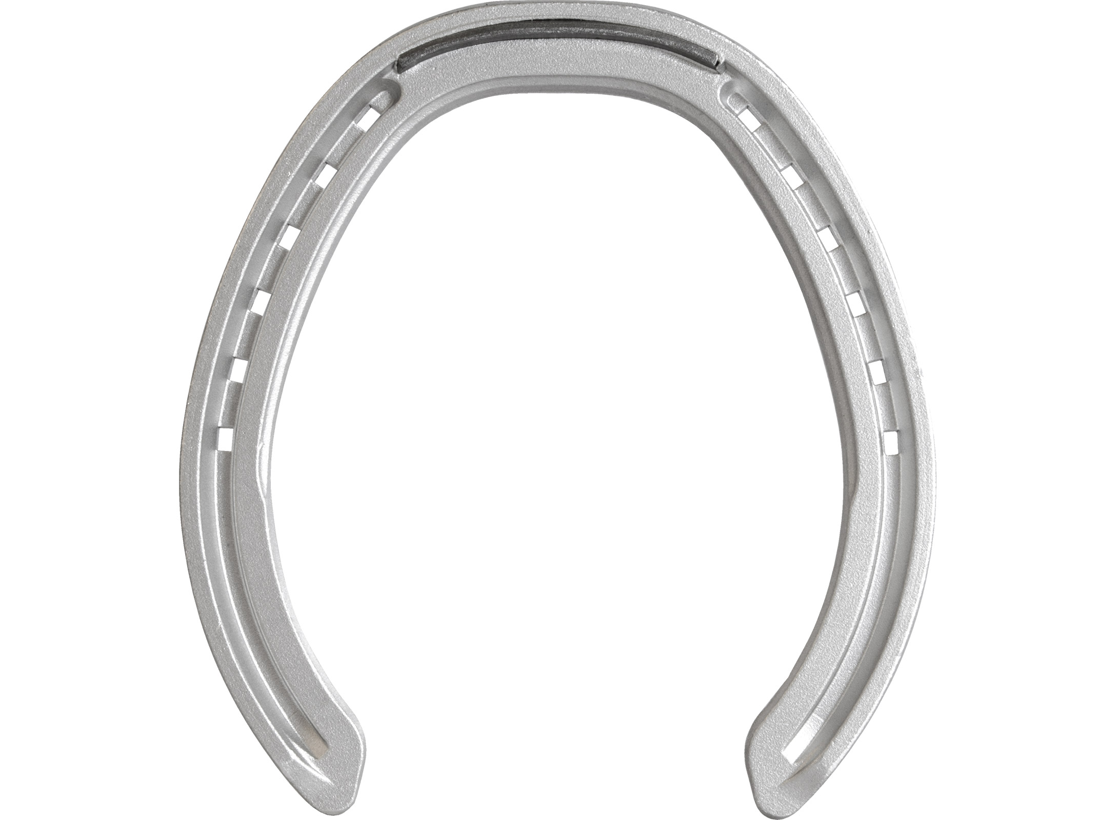 St. Croix Rapid Fullered Aluminium horseshoe, bottom view