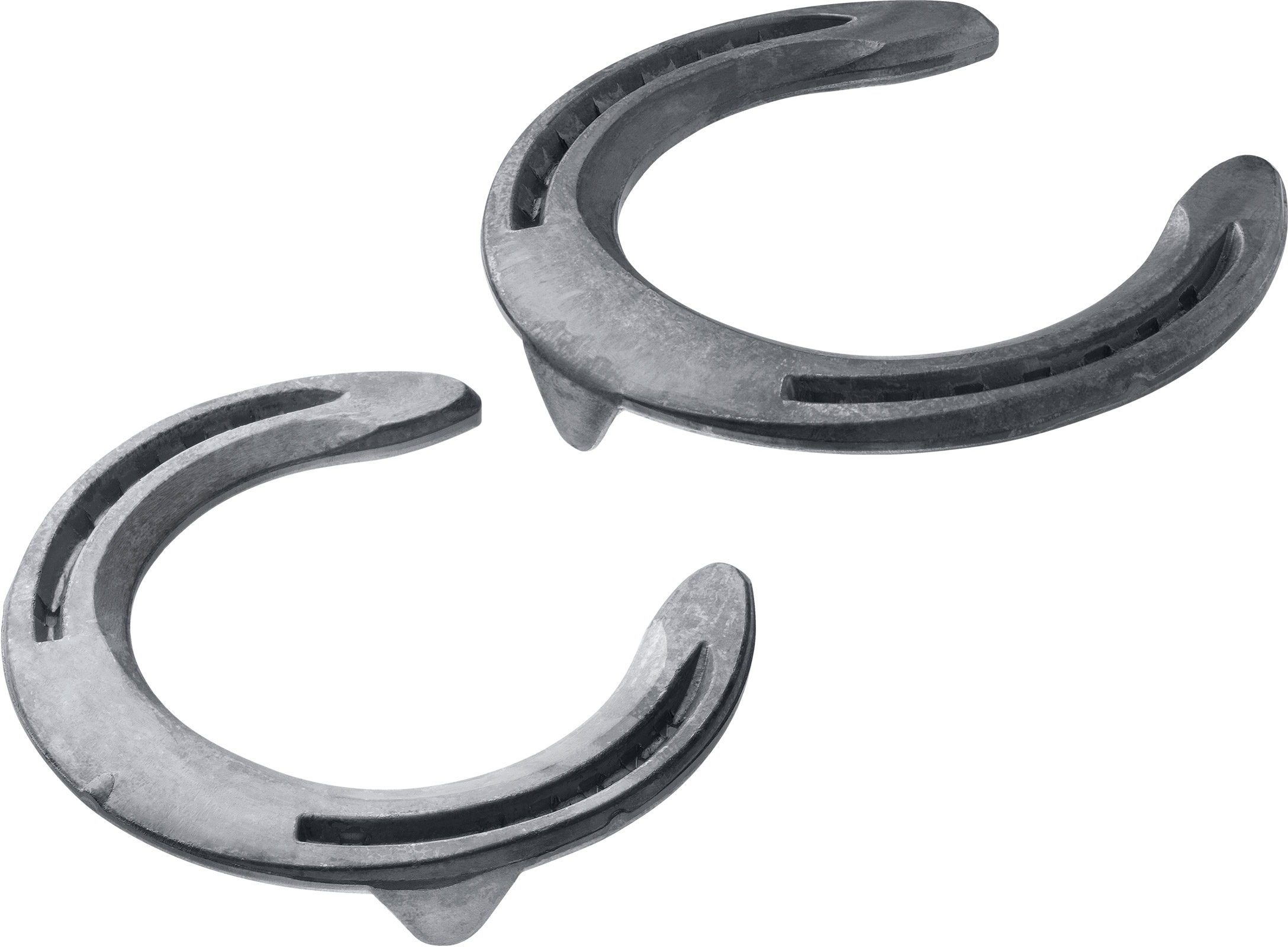 St. Croix Concorde Equi-Librium horseshoes, front toe clip and side clips, bottom side view