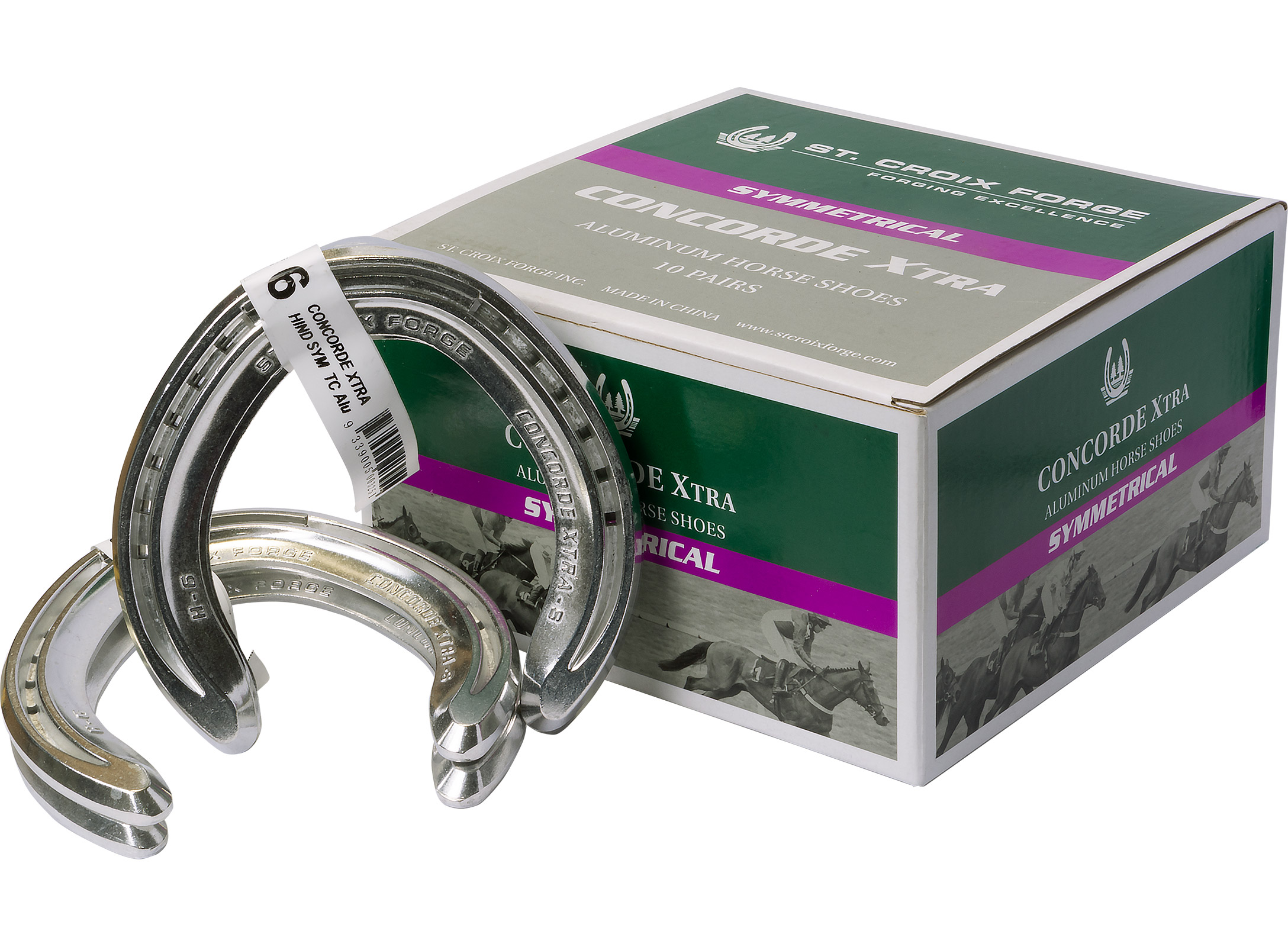 A box of St. Croix Concorde Xtra Aluminum Symmetrical horseshoes