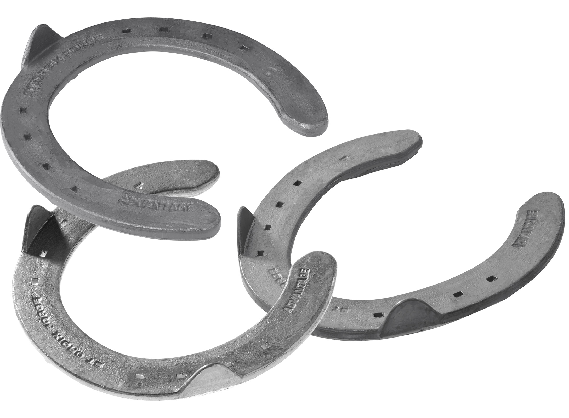 St. Croix Advantage Steel horseshoes, front toe clip and  side clips, hind side clips, hoof side view