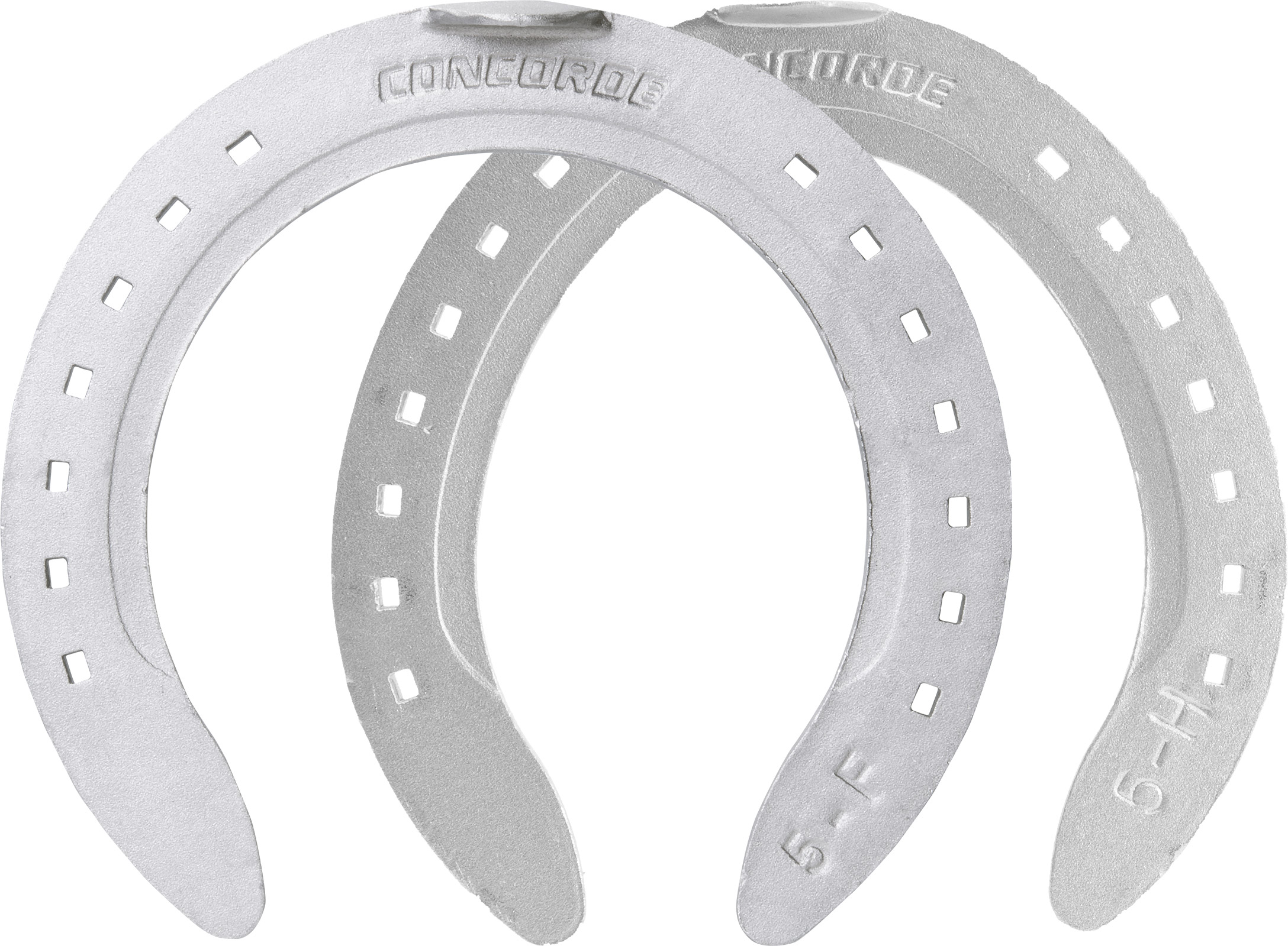 St. Croix Concorde Aluminum horseshoes, front and hind, hoof side view