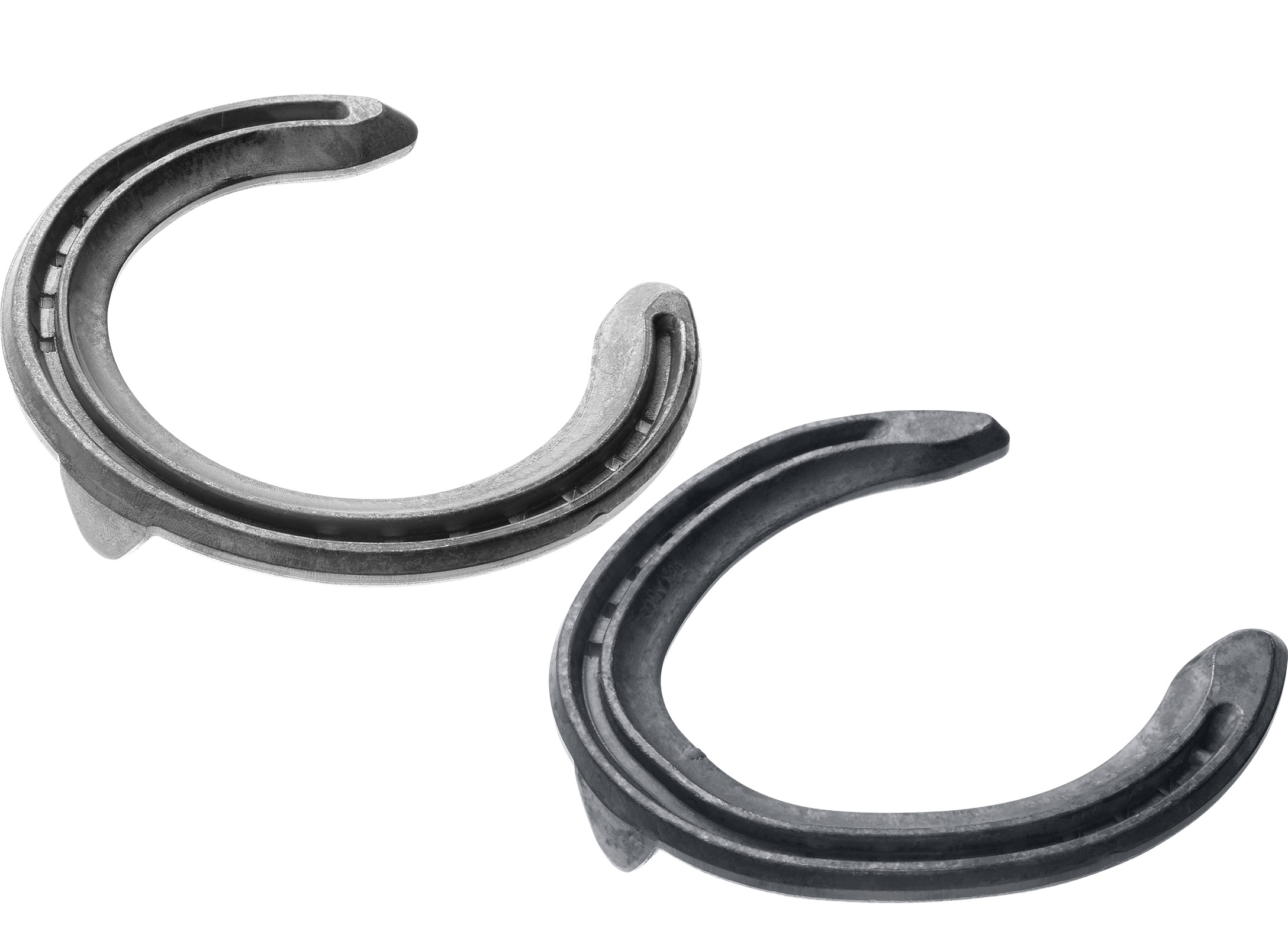 St. Croix Concorde Extra Steel horseshoes, front and hind, bottom side view