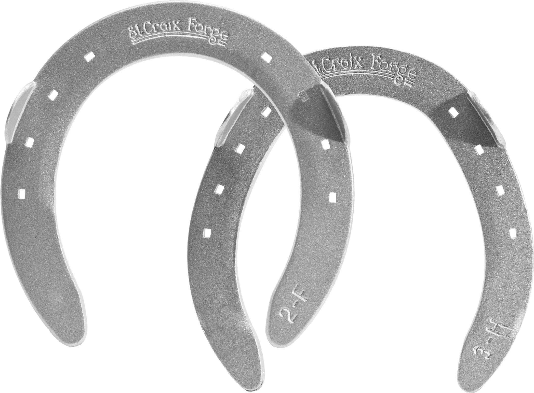 St.Croix Eventer Aluminum horseshoes, front and hind, hoof side view