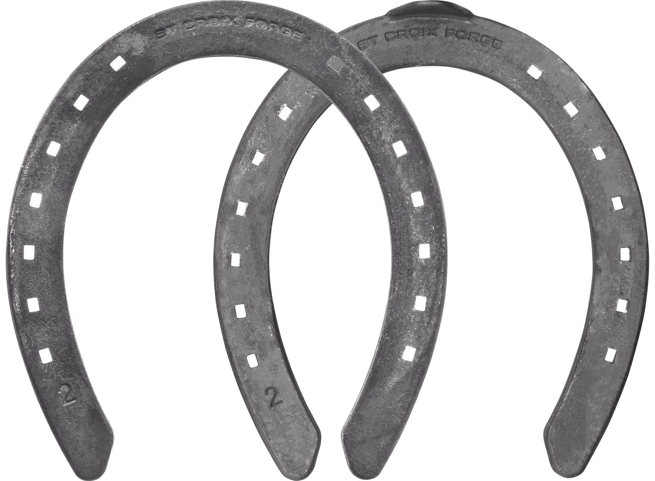 St.Croix Rapid Halfround horseshoes, hind unclipped and toe clip, hoof side view
