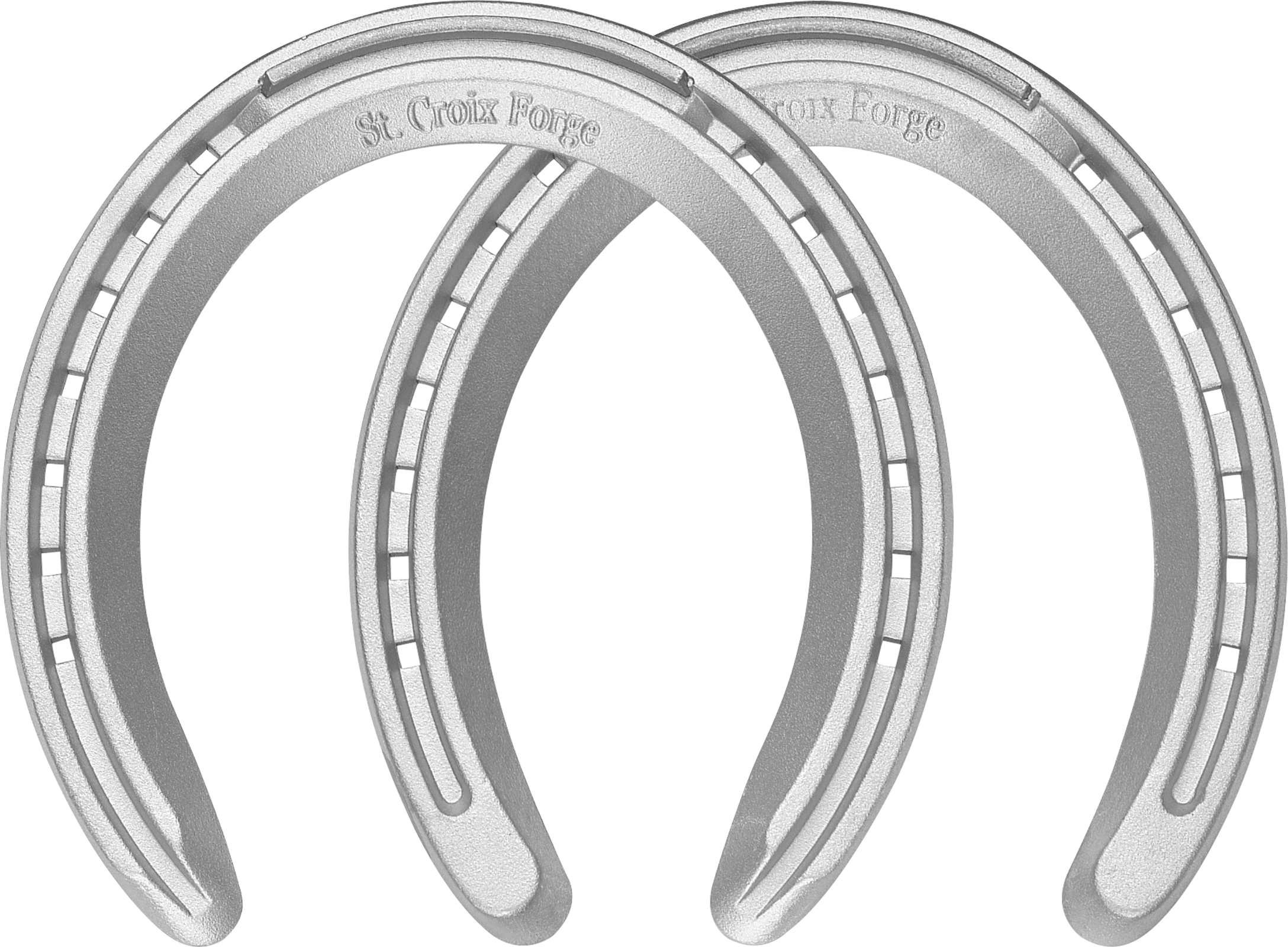 St. Croix Regular Toe horseshoes, front and hind, bottom view