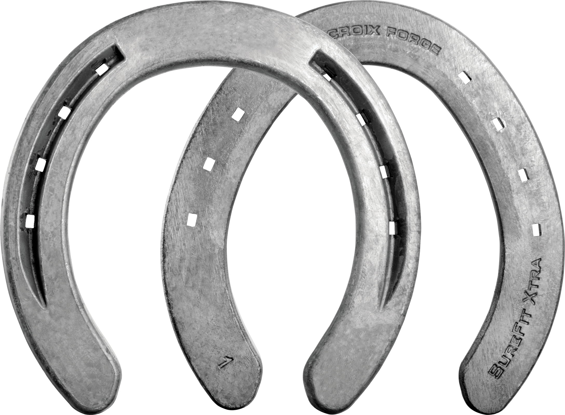 St. Croix Surefit Xtra horseshoes, front bottom, hind hoof side