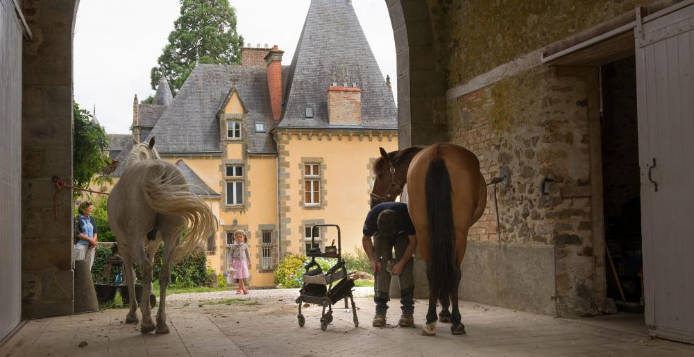 The French farrier Stéphane Brehin at work in a castle