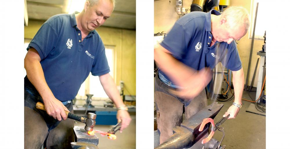 The Swedish farrier Jörgen Nordqvist forging a horseshoe