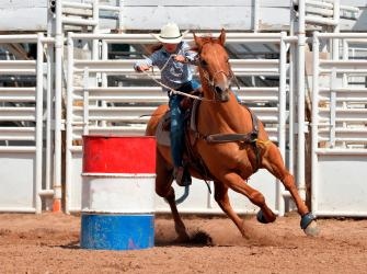 Horse and rider in a barrel race