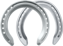 St. Croix Concorde Extra Aluminium horseshoes, front and hind, bottom view
