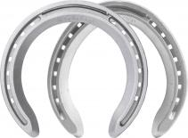 St. Croix Concorde Aluminum Turf Plate horseshoes, front and hind, bottom side view